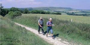 Ramblers in the British countryside.
